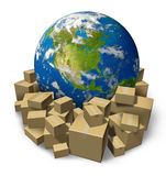 Global Package Delivery. With a world sphere of north america surrounded by stacks of cardboard box packages representing the freight distribution and Stock Photos