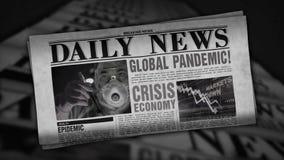 Global pandemic breaking news – retro newspaper printing press