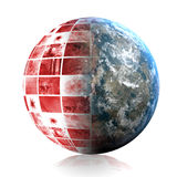 Global Panic. In Red With Earth Globe Royalty Free Stock Photo