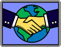 Global Partner. An illustration of a handshake after successful negotiations between two business executives, with the globe in the background royalty free illustration