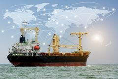 Global partner connection. Map global logistics partnership connection of Container Cargo freight ship for Logistics Import Export background Elements of this Stock Photo
