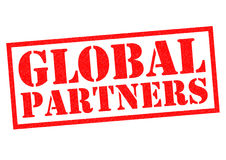 GLOBAL PARTNERS. Red Rubber Stamp over a white background Stock Photos