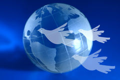 Global Peace. A blue globe with doves flying ahead. A global peace idea. I will be very happy if you let me know when you use this image in your project. info@ Stock Illustration