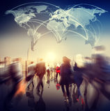 Global People Commuter Walking Rush Hour Concept Royalty Free Stock Images