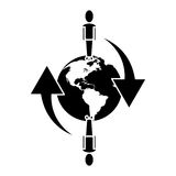 Global people connected communication network around pictogram Stock Photography
