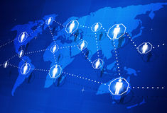 Global People Connection. Abstract global people connection concept on the world map Stock Photo