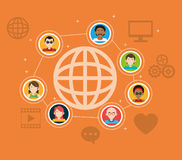 Global people connection social media items. Vector illustration eps 10 stock illustration