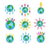Global people icons Royalty Free Stock Photos
