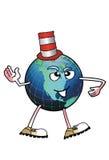 Global person med den roliga hatten Arkivbilder