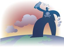 Global piracy. A big bad pirate is walking along the globe stock illustration