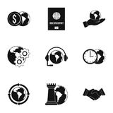 Global plan icon set, simple style. Global plan icon set. Simple set of 9 global plan vector icons for web isolated on white background Stock Photo