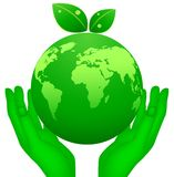 Global planet and hand. Illustration of global planet and hand Stock Photo
