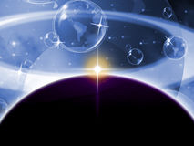 Global Planets Represents Solar System And Globalisation Stock Image