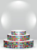 Global podium. With world flags Royalty Free Stock Photo