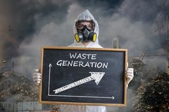 Global pollution concept. Man in gas mask is warning against waste generation. Royalty Free Stock Photos