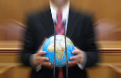 Global pollution concept, politician holding the Planet Earth Stock Photography