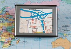 Global Positioning System. A global positioning system on a map Stock Photography