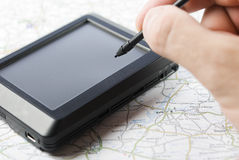 Global positioning system device. GPS global positioning device with hand holding stylus pen Stock Photo