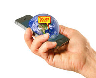 Global Positioning System (GPS) app on cell phone Stock Photography