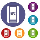 Global Positioning System icons set Stock Photos