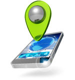 Global positioning system. Mobile phone with location marker on white background Stock Photography