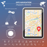 Global Positioning System, navigation. Infographic template Royalty Free Stock Photos