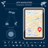 Global Positioning System, navigation. Infographic template. Vector illustration Royalty Free Stock Photography