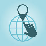 Global positioning. Thin line icon with flat design element of global positioning system, pin destination, point on map, exact coordinates, direction pointer Royalty Free Stock Photography