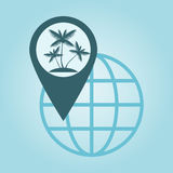 Global positioning. Thin line icon with flat design element of global positioning system, pin destination, point on map, exact coordinates, direction pointer Royalty Free Stock Photos