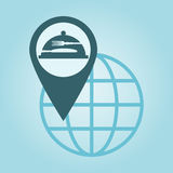 Global positioning. Thin line icon with flat design element of global positioning system, pin destination, point on map, exact coordinates, direction pointer Royalty Free Stock Photo