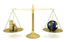Global Priorities. Balancing the Earth on a set of gold scales. 3D rendering with raytraced textures and HDRI lighting Stock Photo