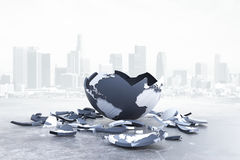 Global problems and risk. Broken globe on city background. Global problems and risks. 3D Rendering Stock Images