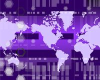 Global Purple. Map of world with abstract geometry Stock Images