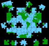 Global Puzzle. Map of world as a puzzle Stock Photo