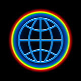 Global Rainbow. Symbolic illustration of Blue Globe with Bright Colorful Atmosphere over Black Space Background Royalty Free Stock Images