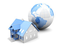 Global Real Estate. Real estate arround the World. 3D rendered Illustration. Isolated on white royalty free illustration