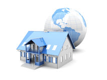 Global Real Estate. Real estate around the World. 3D rendered Illustration. Isolated on white stock illustration