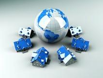 Global Real Estate. Real estate around the World. 3D rendered Illustration vector illustration