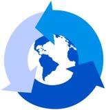 Global recicl setas Fotografia de Stock