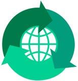 Global recicl setas Imagens de Stock Royalty Free
