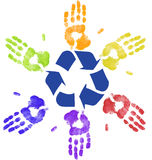 Global recycling. Many colorful hands recycling on community or global level Royalty Free Stock Photography