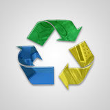 Global recycling icon with embossed elements and colors Royalty Free Stock Image