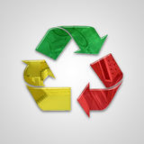 Global recycling icon with embossed elements and colors Stock Images