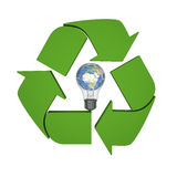 Global recycling ideas. Lightbulb with planet Earth inside recycling symbol, concept of new ideas in environmental protection and conservation. Elements of this Stock Images