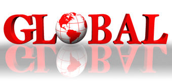 Global red word and earth globe vector illustration