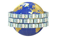 Global remittance concept, dollars around the world Royalty Free Stock Photo