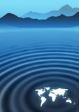 Global Ripples. World map making ripples on landscape Stock Photo