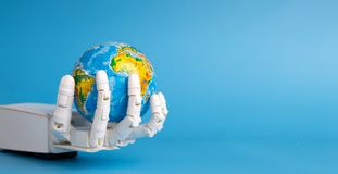 Global robotization. Robot hand holding Earth planet. Global robotization concept. Robot hand holding Earth planet, blue panorama background with free space royalty free stock photography