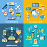 Global Routing Design Concept. Navigation design concept with four compositions flat pictograms and icons with signboards gps satellites and gadgets vector Royalty Free Stock Photography