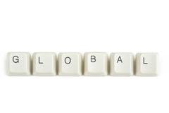 Global from scattered keyboard keys on white. Global text from scattered keyboard keys isolated on white background stock image